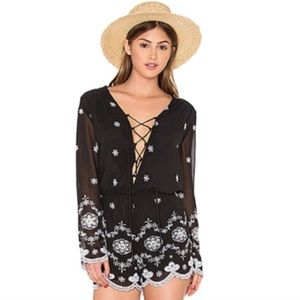 WAYF Black White Embroidered Lace Up Front Romper